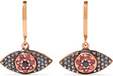 Ileana Makri Open Eye 18-karat Rose Gold, Sapphire And Rhodolite Earrings