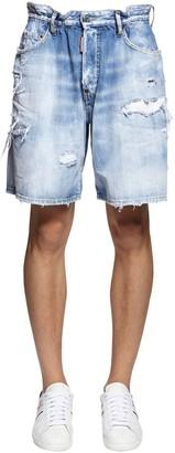 DSQUARED2 36cm Boxer Rainbow Cotton Denim Shorts
