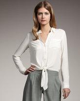 Silk Button/Tie Blouse