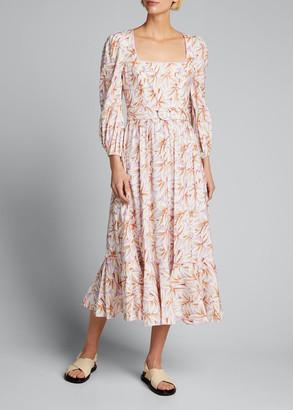 Jonathan Simkhai Ella Floral Linen Belted Midi Flounce Dress