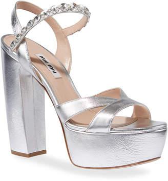 Miu Miu Metallic Crystal-Strap Platform Sandals