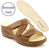Comfortiya Women's Dina Brown Leather Casual Slide Sandal Size 37 M EU / 6.5-7 B(M) US