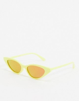 ASOS DESIGN festival cat eye sunglasses in neon yellow with mirror lens