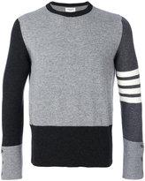 Thom Browne Crewneck Pullover With 4-Bar Stripe In Grey Funmix Cashmere