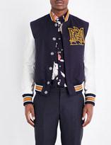 Alexander McQueen Embroidered-logo wool varsity jacket