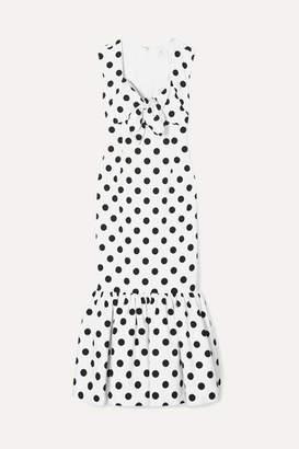 Rebecca De Ravenel Tie-detailed Polka-dot Cotton-blend Maxi Dress - White