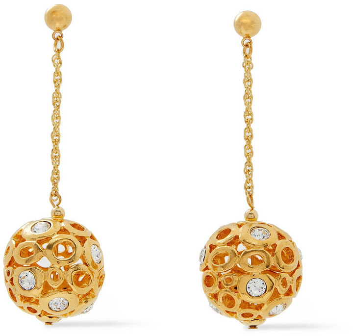 Kenneth Jay Lane 22-karat Gold-plated Crystal Earrings