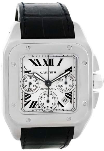 Cartier Santos 100 W20090X8 Crocodile Leather Automatic Chronograph 42mm Mens Watch