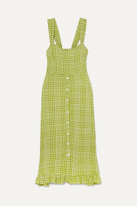 Faithfull The Brand Yasmin Shirred Checked Crepe Midi Dress - Lime green