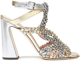 Alberta Ferretti Crystal-embellished Metallic Leather Sandals