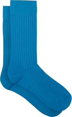 Pantherella Danvers Rib-knitted Socks - Blue