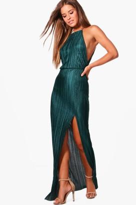boohoo Petite Pleated Thigh Split Maxi Dress
