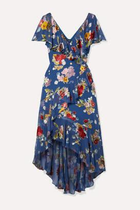 Alice + Olivia Electra Asymmetric Floral-print Fil Coupe Chiffon Dress - Blue