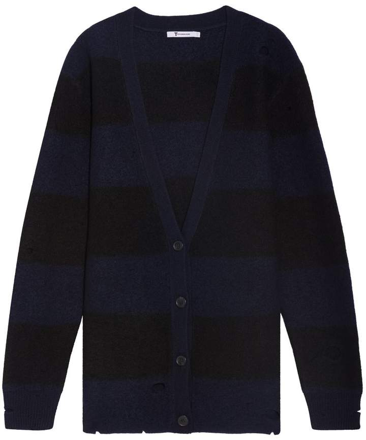 Alexander Wang Striped Knit Cardigan with Holes