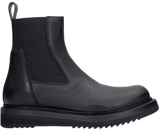 Rick Owens Creeper Elastic Low Heels Ankle Boots In Black Leather
