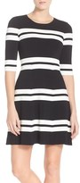 Eliza J Women's Stripe Sweater Fit & Flare Dress