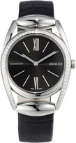 Gucci Horsebit Medium Stainless Steel & Diamond Watch w/ Black Crocodile Strap