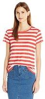 Michael Stars Women's Linen Knit Stripe Short Sleeve Tee