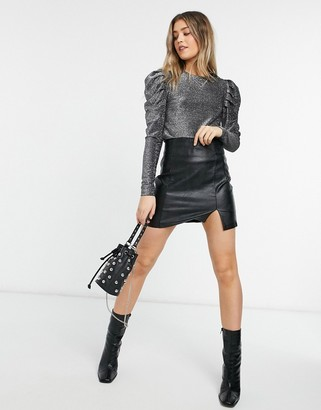 Morgan glitter ruched puff sleeve top in silver