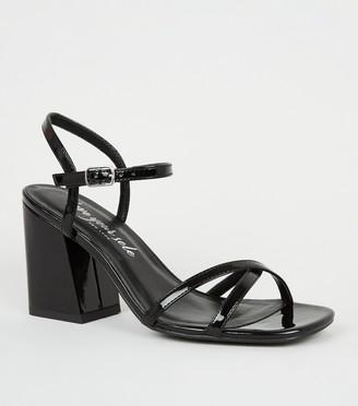 New Look Patent 2 Part Flared Block Heels