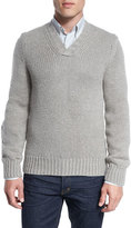 Tom Ford Cashmere-Wool V-Neck Sweater, Beige