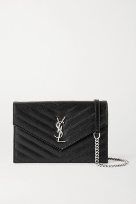Saint Laurent Envelope Textured-leather Shoulder Bag - Black