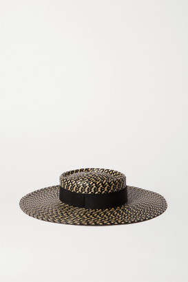 Eugenia Kim June Grosgrain-trimmed Faux Straw Hat - Black