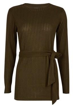 Dorothy Perkins Womens Khaki Brushed Belted Tunic Top, Khaki