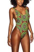 iFANS Women's High Cut Muti Printed One Piece Backless Thong Brazilian Swimwear
