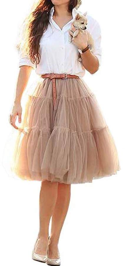CoutureBridal® Womens 6 Layers Ball Gown Tulle Tutu Midi Skirts -3XL