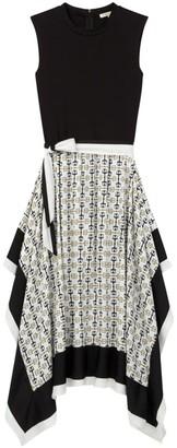 Maje Rosy Solid & Scarf Print Midi Dress