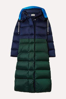 Tory Sport Two-tone Quilted Shell Down Coat - Navy