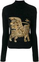 Alberta Ferretti Embellished lion turtleneck sweater