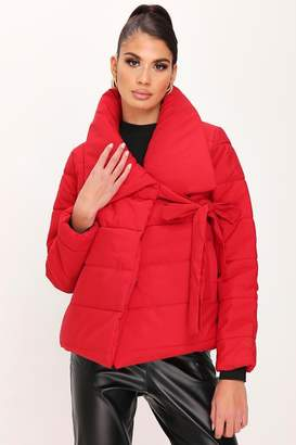 I SAW IT FIRST Red Tie Front Oversized Padded Coat