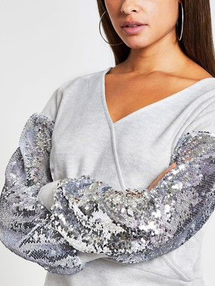 River Island Sequin Sleeve Jersey Wrap Top - Grey Marl