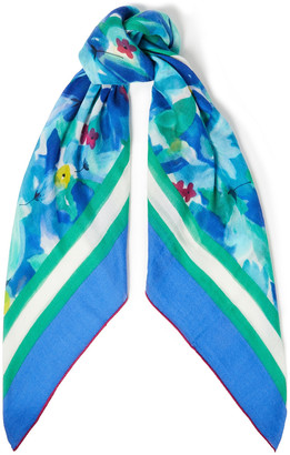 Loro Piana Floral-print Cashmere And Silk-blend Scarf
