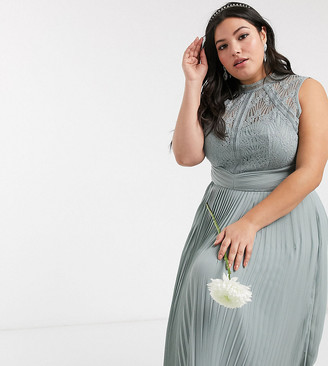 TFNC Plus bridesmaid lace back maxi dress in sage