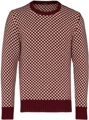 Kiton Check-Pattern Cashmere Jumper