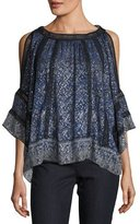 Elie Tahari Mika Cold-Shoulder Floral Silk-Blend Blouse, Medium Blue