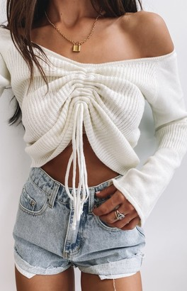 Beginning Boutique Winter Nights Long Sleeve Knit Crop White