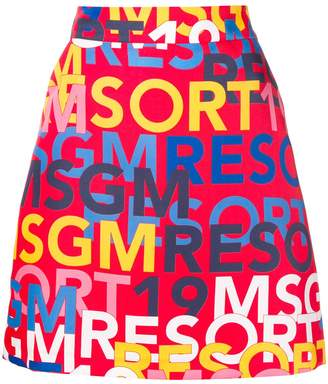 MSGM logo print mini skirt