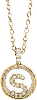 Moritz Glik Pendant with Pave Initial Necklace - S