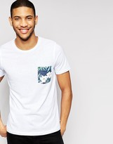 Jack and Jones T-Shirt with Contrast Floral Pocket