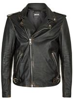 Just Cavalli Scorpion Detail Leather Biker Jacket