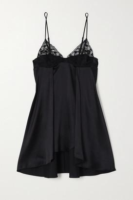 La Perla Adele Leavers Lace-trimmed Stretch-silk Satin Chemise - Black