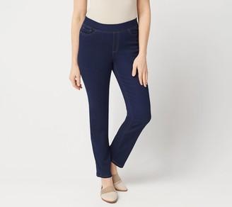 Denim & Co. Petite Soft Stretch Pull-On Full Length Slim Leg Jeans