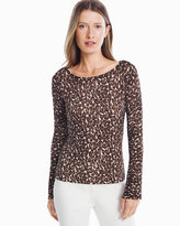 White House Black Market Crew Neck Leopard Pullover Sweater