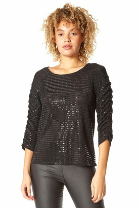 Roman Originals Women Shimmer Pleated Sleeve Top - Ladies Autumn Winter Evening Sparkle Embellished 3/4 Length Sleeve Ruched Detail Stretchy Party Tops - Black - Size 20
