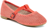 Coral Perforated T-Strap Flat