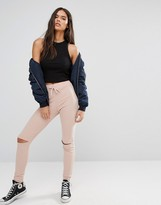 Boohoo Skinny Ribbed Jogger With Open Knee